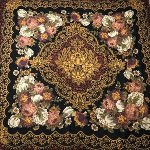 Floral Pattern Black Scarf with Frayed Ends Large
